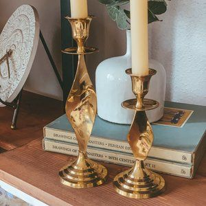 vintage | Set of 2 Brass Twist Candlestick Holder